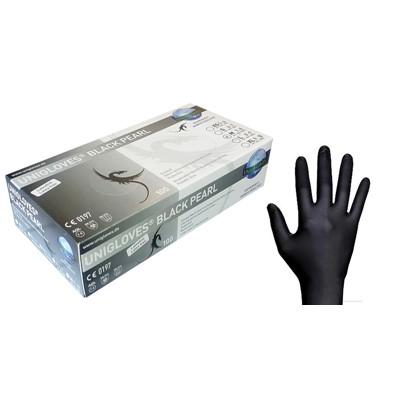 Gloves Soft Nitrile, Black, Small (6-7)