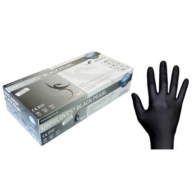 Gloves Soft Nitrile, Black, Medium (7-8)