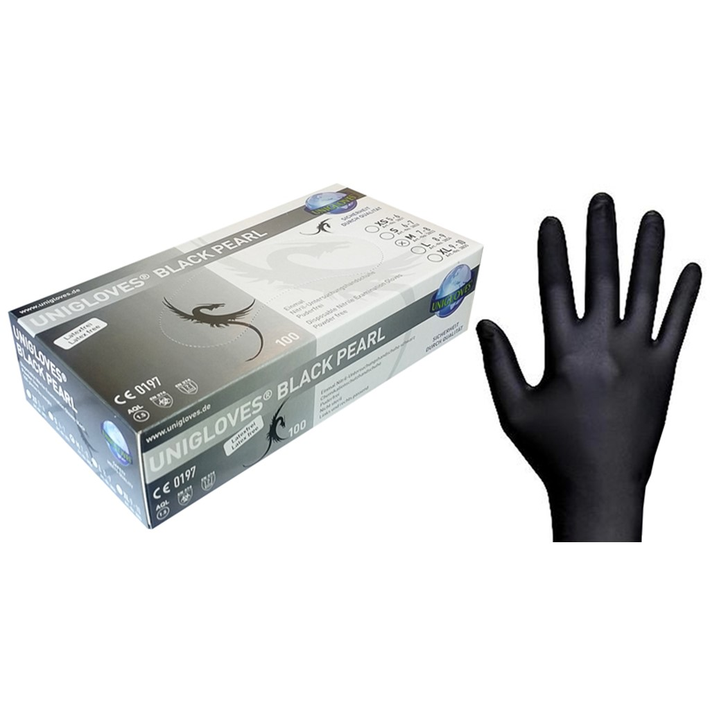 Gloves Nitrile, Black, Large (8-9)