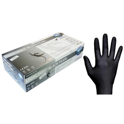 Gloves Soft Nitrile, Black, Large (8-9)