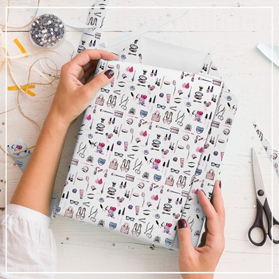 Gift Wrapping Paper Beauty Icons